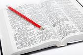 открытая книга / святой библии и карандаш на белом фоне. — Стоковое фото