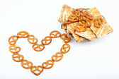 Crispy pretzels stacked in the form of the heart. — Stock Photo