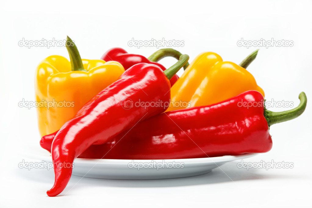 Healthy food. Fresh vegetables. Peppers on a white background. — Stock Photo #9285817
