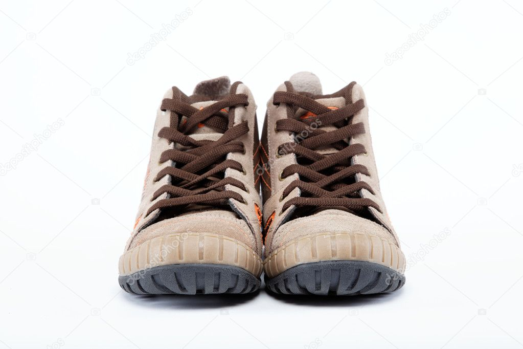 A pair of new hiking boots on white background — Stock Photo #9378580