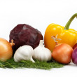 Foto de Stock  : Healthy food. Fresh vegetables on white background.