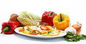 Healthy food. Fresh vegetables. Peppers on a white background. — Stock Photo