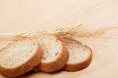 Pan fresco sobre un fondo marrón claro. — Foto de Stock