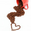 Heart of the coffee beans from an overturned cup. — Foto Stock