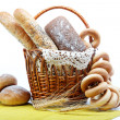 Fresh bread in the basket fully isolated. — Stok fotoğraf
