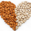 Royalty-Free Stock Photo: The image of the heart of the almond and pistachio nuts.
