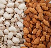 Nötter blandat. mandel- och pistage nötter. — Stockfoto