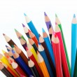 Close up of color pencils with different color over white backgr — Stock Photo #9834218