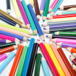 Close up of color pencils with different color over white backgr — Stock Photo #9834258