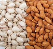 Nuts Mixed. Almond and pistachio nuts. — Stock Photo