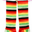 Colorful fun socks attached clothespin hanging from a rope. — Stock Photo