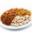 Nut-raisin mix. Almond and pistachio nuts and raisins. — Stock Photo