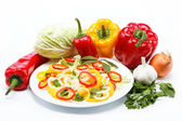 Healthy food. Fresh vegetables and salad on a white background. — Stock Photo
