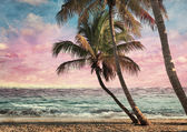 Grunge Image Of Tropical Beach — Stock Photo
