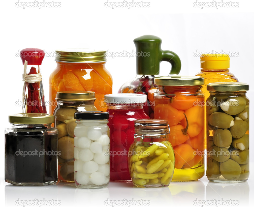Glass Jars Of Preserved Fruits And Vegetables  Stock Photo #9621145