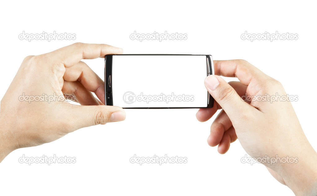 Hand holding and touch smart phone — Stock Photo #10464612