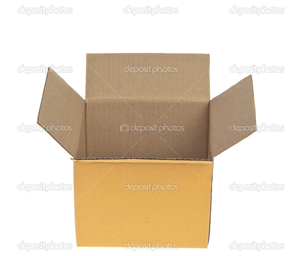 Open Corrugated cardboard box isolated on white background — Stock Photo #10477720