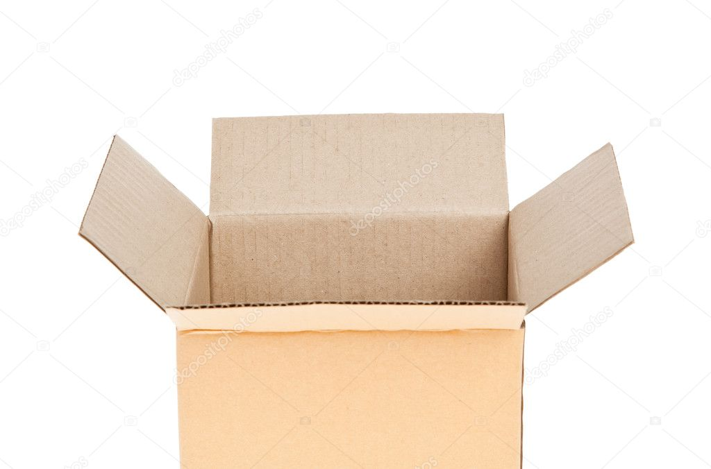Open Corrugated cardboard box isolated on white background  Stock Photo #10477823