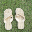 Handmade slipper on grass — Stockfoto