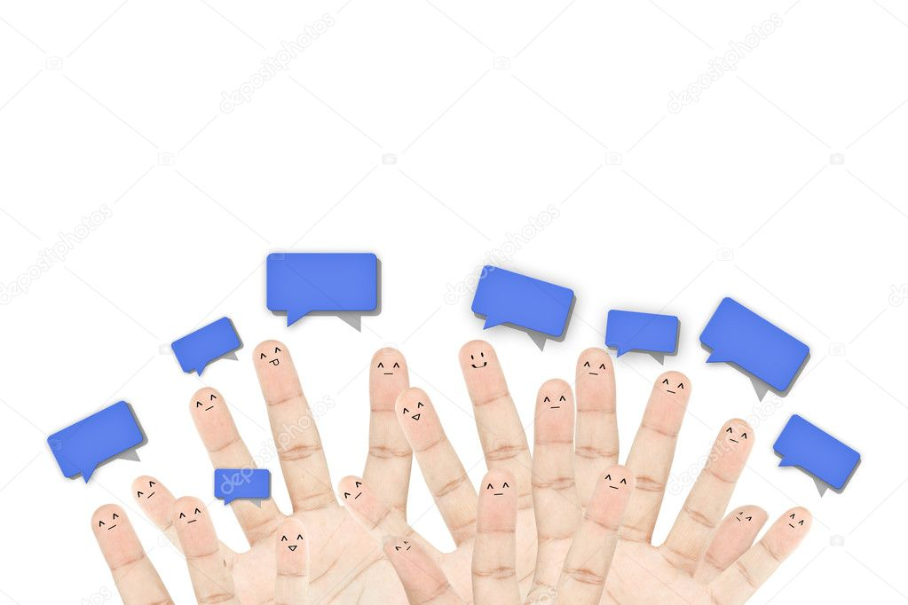 Happy group of finger faces as social network — Stock Photo #8683337