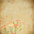 Stock Photo: Old grunge paper and flower background