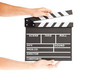 Film clapper board with space and hand — Stock Photo