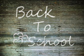 Grunge wood with back to school word — Stock Photo
