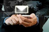 Empresario toque teléfono inteligente de la mano con la red social de correo electrónico — Foto de Stock