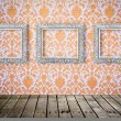 Flower pattern in traditional Thai style art on wall - Foto Stock