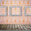 Flower pattern in traditional Thai style art on wall - Stock Photo