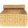Open wicker basket isolated on white background — Foto de Stock