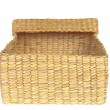 Open wicker basket isolated on white background — Foto Stock