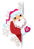 Santa Claus in the background of snowflakes with a blank sheet o — Stock Vector