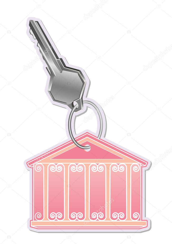 Key with trinkets in the form of house  Stock Vector #8625685