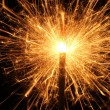 Burning Christmas sparkler isolated on black background. Bengal fire. — Stock Photo