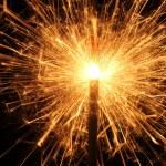 Burning Christmas sparkler isolated on black background. Bengal fire. — Stock Photo #8339850