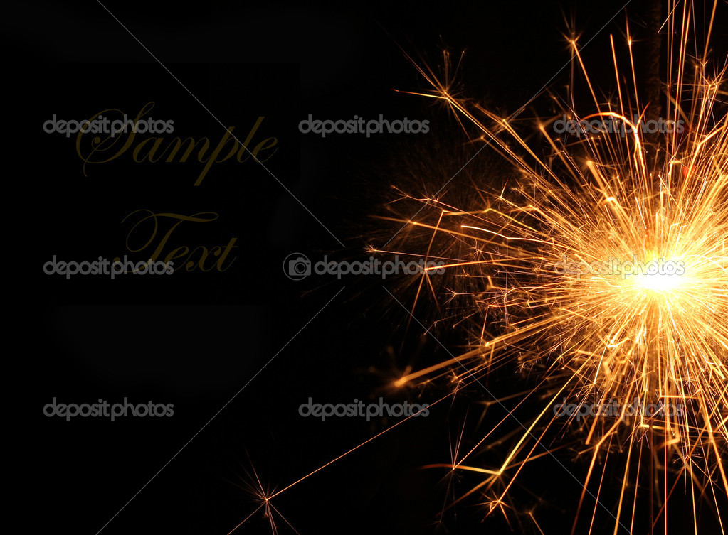 Burning Christmas sparkler isolated on black background. Bengal fire.  — Stock Photo #8339854