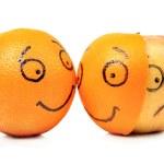 Apple and Orange emotions isolated on white — Stock Photo #9658705
