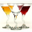 Three elegant crystal cocktail glasses isolated on white — Stock Photo