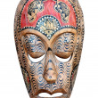 Hand carved wooden Haiti mask isolated on a white — Stock Photo