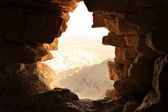 Ancient stone window of Masada fortress in Israel — Stock Photo