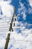 Electricity post and blue sky — Stock Photo