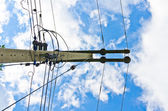 Electric line and blue sky — Stock Photo