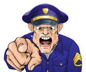 Policía enojado — Vector de stock