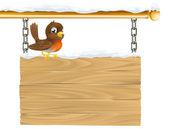 Winter robin sign — Stock Vector