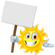 Sun character holding a sign board — Stock Vector #10249899