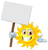 Sun character holding a sign board — Stock Vector
