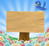 Bluebird sitting on wood sign with flowers — Stock Vector