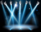 Blue spotlights background — Vettoriale Stock