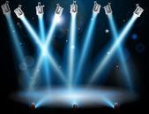 Blue spotlights background — Stock Vector